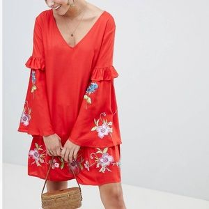 NWT ASOS Embroidered Bell Sleeve Dress